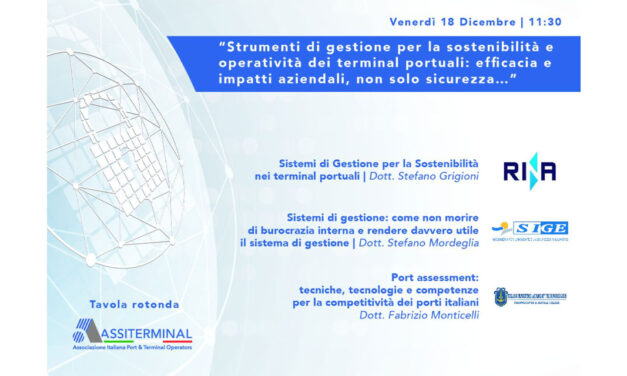 """""""Port assessment: tecniche, tecnologie e competenze per la competitività dei porti italiani"""""""